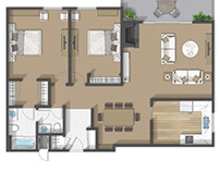 Floor plan 2D rendering in San Mateo California.