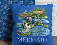 Fairytale hand made illustration of mermaid