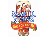 Watercolor illustrations of Samuel Adams beer.
