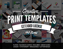 Creative Print Templates Bundle with 140 Items