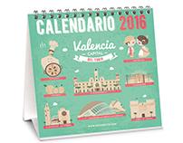 Calendario Valencia Ilustraciones 2016 diseño grafico
