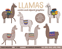 Llamas! Set of vector graphics