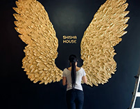 3D Sculptural Wings Mural