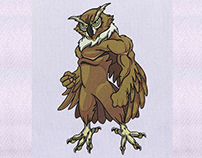 BUFFED AND DOMINEERING OWL EMBROIDERY DESIGN