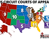 United States is divided into thirteen circuit courts