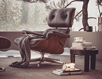 Vitra lounge chair composition render Corona