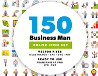 150 Business Man Icon Set