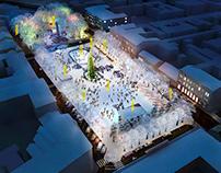 Complex urban design of Soborna Square /Competition, UA