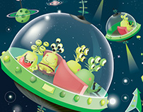 Design and illustration game : Space Monster - Janod