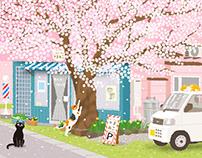 TABINEKO-Cherry blossom street Barber shop
