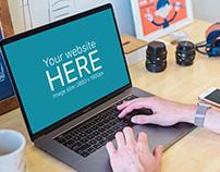 Space Gray Macbook Mockup On Photographers Desk