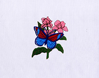 Flowers and Butterfly Digital Embroidery Design