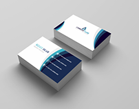 Business Card with blue features