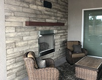 Industrial outdoor fireplace & seating