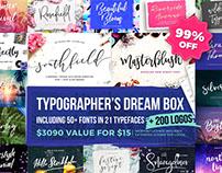 Typographer's Dream Box - 50+ Fonts and 200 Bonus Logos
