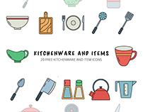 Kitchenware and Items Vector Free Icon Set