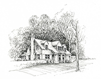 Pen and Ink illustration of a Kansas City Residence