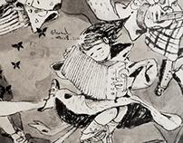Little musician sketch毛笔小涂鸦