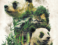Great Panda Nature Surrealism Study Digital Art