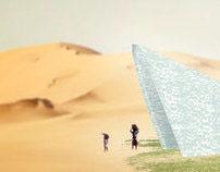 砂漠のガラスの温室。