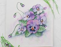 Floral violet. Watercolor
