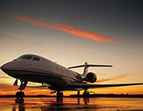 Gulfstream G650 in the tarmac at dusk