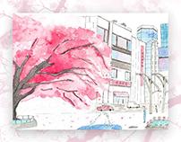 Whimsical Tokyo Watercolor Paintings