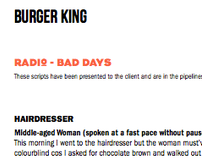 Burger King Radio Scripts