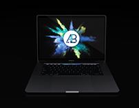 Realistic 2016 Space Grey Macbook Pro Mockup