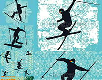 skier vector graphic design set