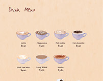 Drink menu for Fay's Cafe