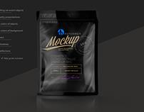 GLOSSY BLACK STAND-UP BAG MOCKUP
