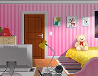 Cartoon interior room for girl
