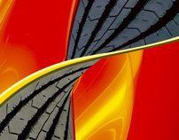 Infográficos e fotomontagens Pirelli