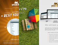 Three landing page designs for Yoozoo.de