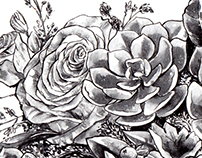 Flower bouquet b&w illustration