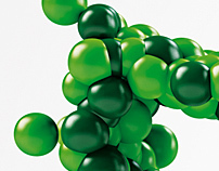 Green globules text