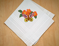 COLORFUL BUTTERFLY AND ORANGE FLOWERS EMBROIDERY DESIGN