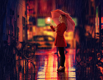 Girl in rain | Photoshop manipulation tutorial