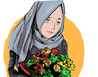 Hijab Girl with a flower bucket