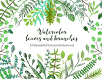 Watercolor leaves and branches set