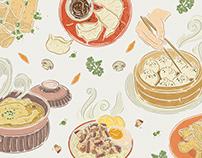 Asian cuisine illustrations