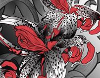 Orchidées gris et rouge