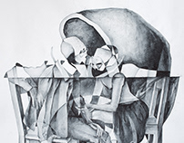 Anatomy of Dialogue(44). 50x70cm, watercolor 2018