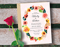 Free PSD Template: Watercolor Floral Wedding Invitation