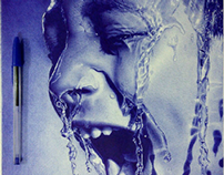 Water Splash with ballpoint pen by me