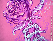 Skeleton Hand Holding Rose T-Shirt Design