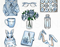 Powder Blue - Hand Drawn Clip Art & Digital Papers