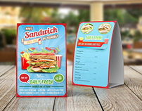 Sandwich Restaurant Table Tent Template