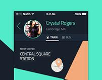#DailyUI Challenge #006 Boston MBTA User Profile
